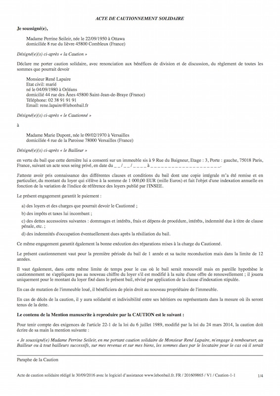 Exemple de caution - Page 1