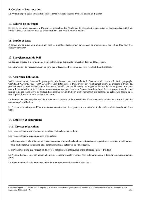 Exemple de contrat de bail - Page 6