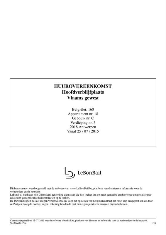 Voorbeeld van huurcontract - Pagina 1