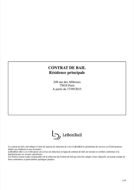 Exemple de contrat de bail - Page 1