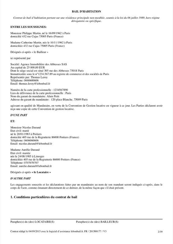 Exemple de contrat de bail - Page 2